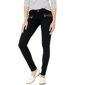 Paige Studded Indio Zip - Black Shadow Jeans
